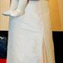 Asiatisch angehauchtes Brautkleid mit raffinierten Details aus elfenbeinfarbener und zartrosa Dupionseide
