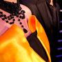 Abendkleid aus schwarzer Wollgarbadine