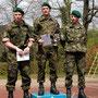 Siegerpodest der Inf RS Reppischtal - Kpl Sven Rasinger (1.), Kpl Rolf Hirt (2.) und Lt Christian Herzig (3.).