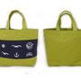【和柄帆布トートバッグ】サイズ(約) 幅34 × 高さ26 × マチ9(cm)  気仙沼のアイテムをデザインしたシンプルな和柄のトートバッグ。