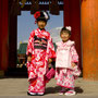 two kids infront of Heian Shrine, Kyoto