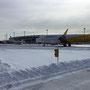 新千歳空港。前日は午後からほとんど欠航に。