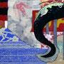 「鯰昇天図」 和紙、岩絵具、水干 14x18cm 個人蔵
