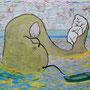 「泳ぐなまず」和紙に岩絵具 38cm×45cm