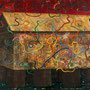 「陶棺」 パネルに和紙、Pタイル、岩絵具  300x400cm
