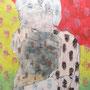 「何を抱いて眠る」 和紙、岩絵具、蝋、コラージュ 31x22cm 個人蔵