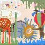 「れんこんに乗る亀」 和紙、コラージュ、岩絵具 14x18cm 個人蔵