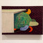 「かめの出勤」 和紙に岩絵具 22.7x15.8cm 個人蔵