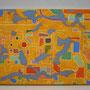 「地図」 和紙に岩絵具 14x18cm 個人蔵