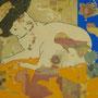 「眠る」 和紙に蝋、コラージュ、岩絵具 33x24cm