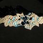 """bracciale in macramé """"Morgana"""" 1 - materiale: lino e cotone, filo d'alluminio battuto a mano, perle di vetro e bottone di madreperla. venduto"""