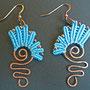 """orecchini in macramé """"MORGANA"""" R/10 - materiale: cotone, perline di rame, filo di rame battuto a mano. Venduti"""