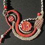 """particolare collana """"Marilena"""". Materiale: cotone, lino, perle in ceramica. venduta"""