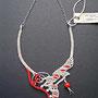 """collana """"Morgana"""" A8. Tecnica: macramé. Materiale: spago di lino e cotone, filo d'alluminio battuto a mano"""