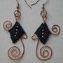 """orecchini in macramé """"MORGANA"""" R/6 - materiale: cotone, perline di rame e filo di rame battuto a mano. Venduti"""