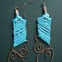 """orecchini in macramé """"MORGANA"""" R/14 - materiale: cotone, perline di rame, filo di rame battuto a mano."""