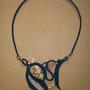 """collana """"NAUSICAA"""" 2. Tecnica: macramè. Materiale: cotone e lino, perle in rame e legno, filo di rame battuto a mano e sasso di mare. Venduta"""