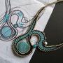 """collana """"Gabriella"""". Tecnica: macramè. Materiale: cotone, lino, perle in ceramica. venduta"""