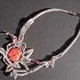 """collana """"Chiara"""" 2. Tecnica: macramè. Materiale: spago di lino, perle in ceramica."""