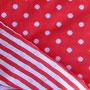 Jacquard Jersey: eine Seite rot m. weißen Pünktchen, eine Seite rot-weiß geringelt