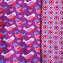 Reststück - Vögelchen passend zu Kreise Kringel lila-rot-pink - Lillestoff