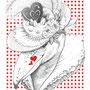 ハシビロコウ イラスト バレンタインポストカード