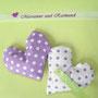 Einladungskuvert außen, mit Lavendelherz-Tischkarten