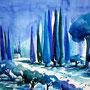 Toskana Impressionen in Blau 2014 Aquarell 36 x 48 cm