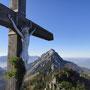 Gipfelkreuz Steineck, im Hintergrund der Traunstein