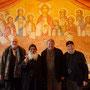 Gruppenfoto im Kloster: Prof. Dr. Rainer Hannig, S.E. Bischof Anba Damian, Uwe Schummer (MdB) und Gunter Schmidt-Riedig