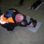 nachgestellte Unfallsituation mit Schwerverletzten