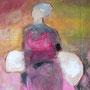 Frau mit Körben, verkauft