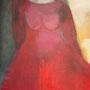 Frau mit rotem Kleid, verkauft