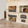 Фото печного комплекса: печь для казана, печь для пиццы, мангал, вертел, генератор углей