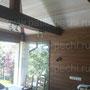 Беседка с безрамным, панорамным остеклением и печным комплексом барбекю: мангал, казан, камин