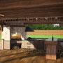 Деревянная беседка с зоной отдыха и рабочими поверхностями для приготовления изысканных блюд на мангале, вертеле, плите под казан и в русской печи