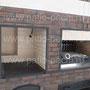 Фото печного комплекса с беседкой: плита под казан, мангал, вертел, генератор углей, разделочные столики