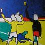 Gelbe Karte, Acryl-/Mischtechnik auf Leinwand, 100 x 80 cm
