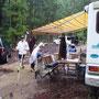 二日目の朝、雨に降られ計画中断テント撤収