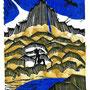 montagne, linogravure 2 couleurs et tampon, 7 expl.