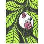 dans les feuilles, linogravure 2 couleurs et tampon, 7 expl.