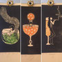 Gin tonic, Spritz, Champagne, linogravure et tampon, 10 expl.