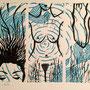 sous l'eau, linogravure 2 couleurs, 12 expl.
