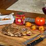 Carne asada sazonada con Rajas de Chile Habanero MORE