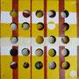 lochbild 0558 . 2015 . 20 x 20 cm . kunstharzlack auf zwei leinwänden, vordere leinwand gelocht . zwei keilrahmen hintereinander montiert .