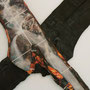 Fragments d'une forêt 1, images photographiques marouflées sur planche de bois brut, planche brûlée, écritures, 150x180x9cm, 2013