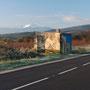 """""""Casot"""" près de Latour de France, RD17 Estagel, impression numérique sur film adhésif et alu composite, 29m², 2011"""