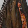 Eau feu 1,  images photographiques marouflées sur planches de bois, planches brûlées, 200x120x50cm