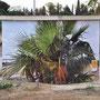 Transformateur EDF sortie autoroute Perpignan Nord, RD 183, impression numérique sur film adhésif et alu composite, 18 m², 2009