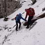Selbst die Wanderprofis sind extrem vorsichtig im Abstieg